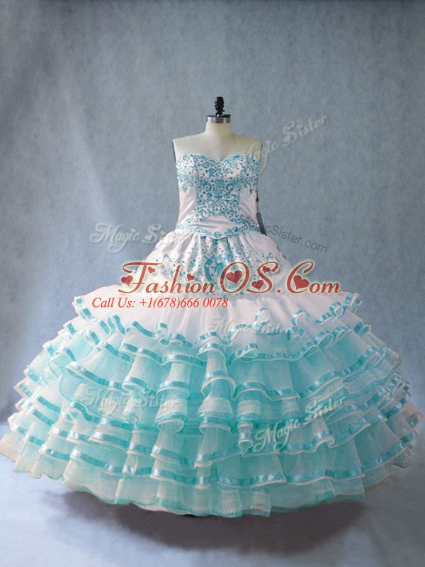 Popular Floor Length Lace Up Quince Ball Gowns Blue And White for Sweet 16 and Quinceanera with Embroidery and Ruffled Layers