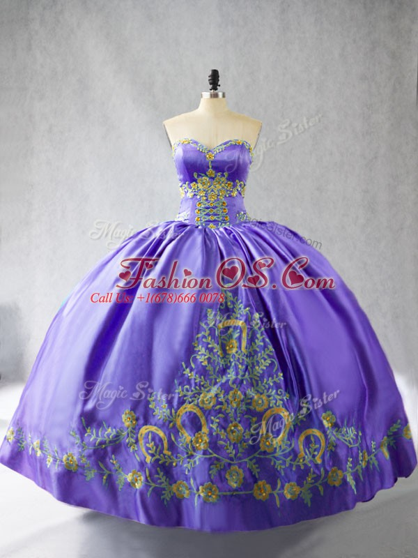 Fitting Purple Sleeveless Embroidery Floor Length 15th Birthday Dress