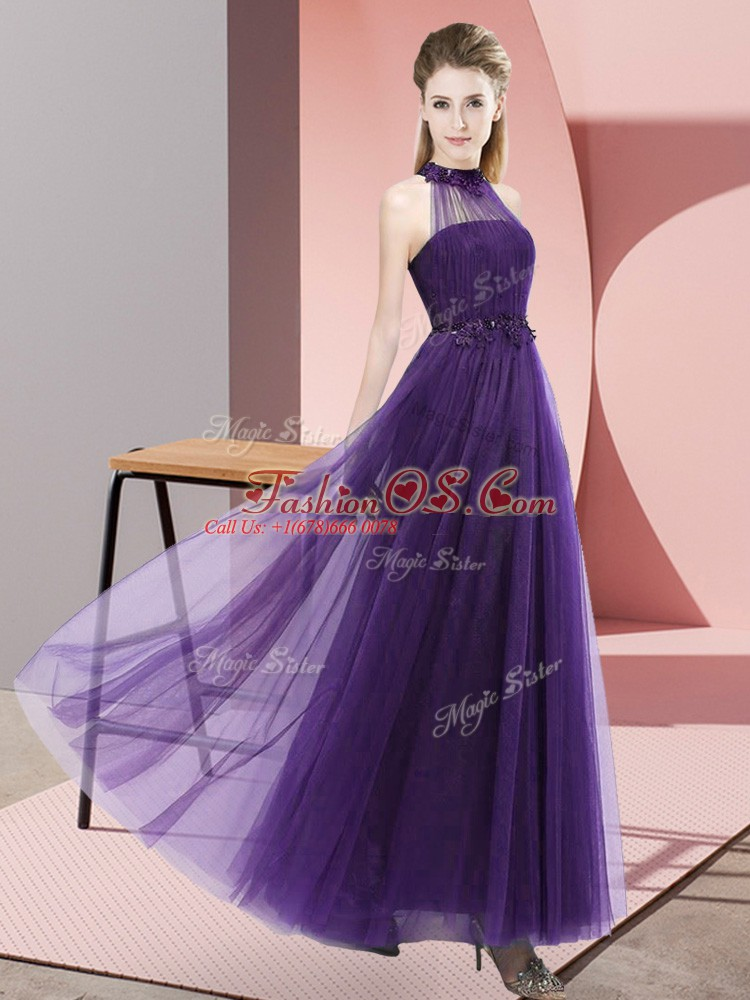 Admirable Sleeveless Floor Length Beading and Appliques Lace Up Quinceanera Court Dresses with Purple