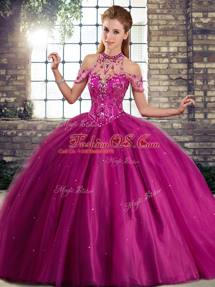 Fuchsia Sleeveless Tulle Brush Train Lace Up Sweet 16 Dresses for Military Ball and Sweet 16 and Quinceanera