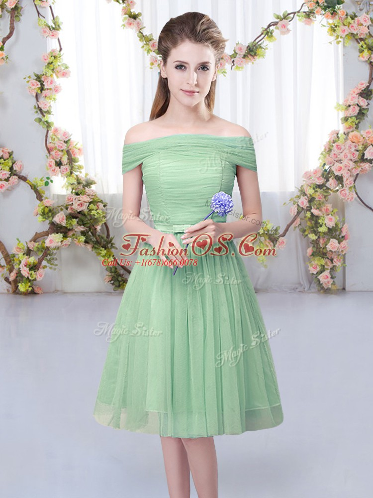 Custom Made Off The Shoulder Short Sleeves Lace Up Quinceanera Dama Dress Green Tulle