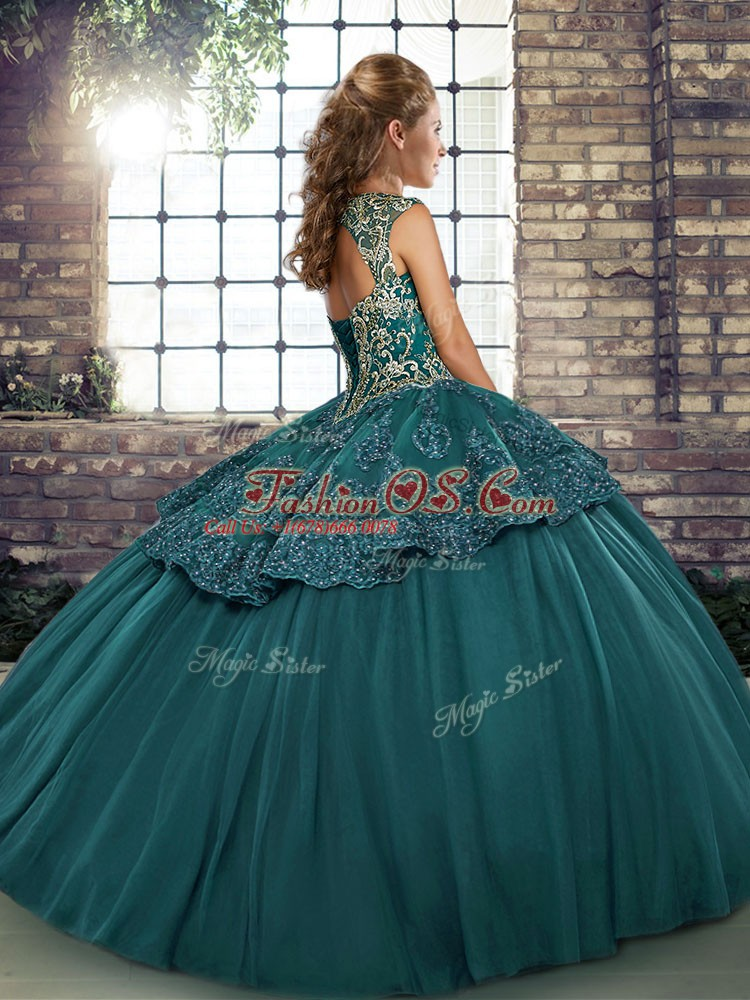 Comfortable Sleeveless Floor Length Beading and Appliques Lace Up Quinceanera Gowns with Fuchsia