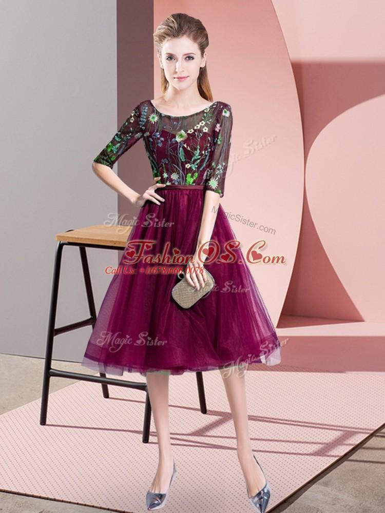 Fuchsia Scoop Neckline Embroidery Vestidos de Damas Half Sleeves Lace Up