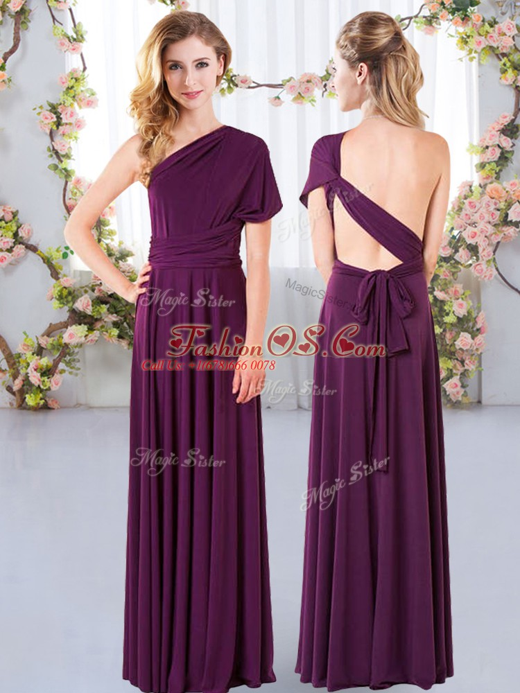 Dark Purple Sleeveless Chiffon Criss Cross Damas Dress for Wedding Party