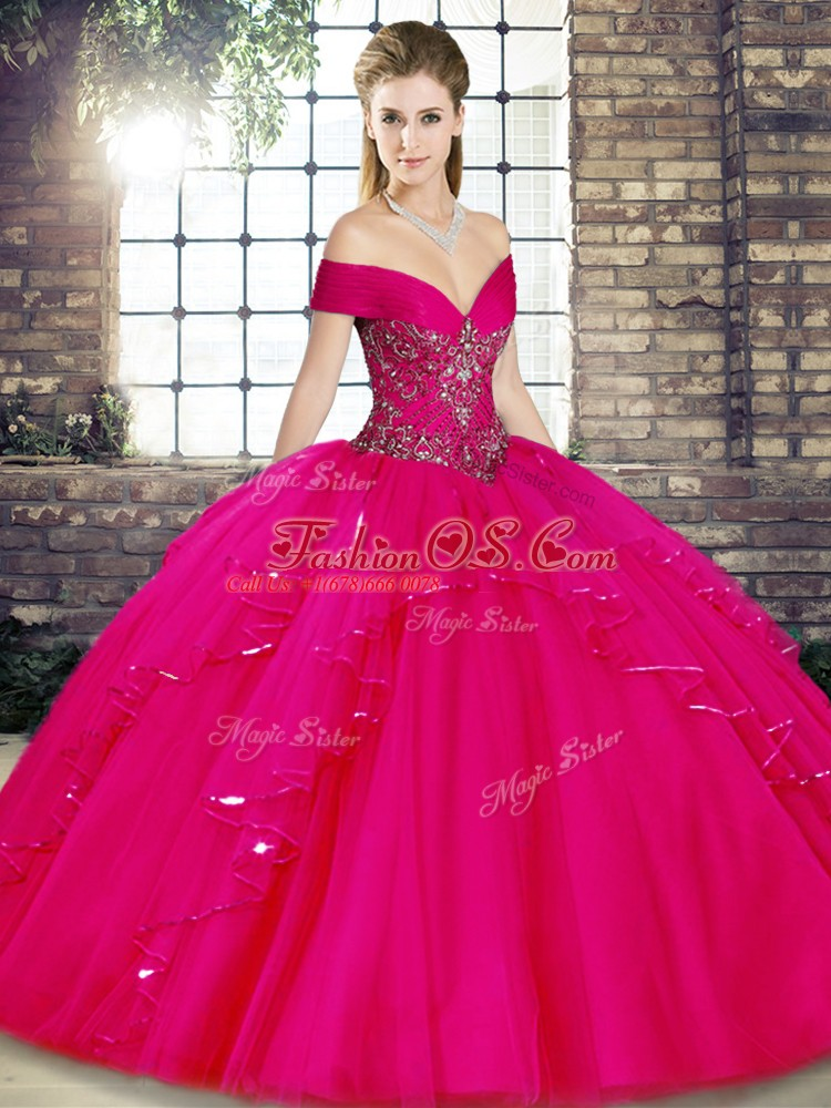 Affordable Sleeveless Tulle Floor Length Lace Up Quinceanera Dresses in Fuchsia with Beading and Ruffles
