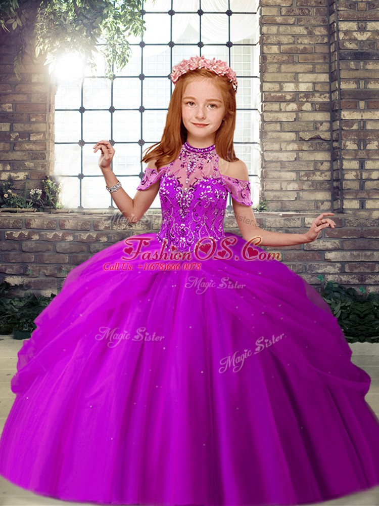 Gorgeous Purple Sleeveless Beading Floor Length Little Girls Pageant Dress Wholesale
