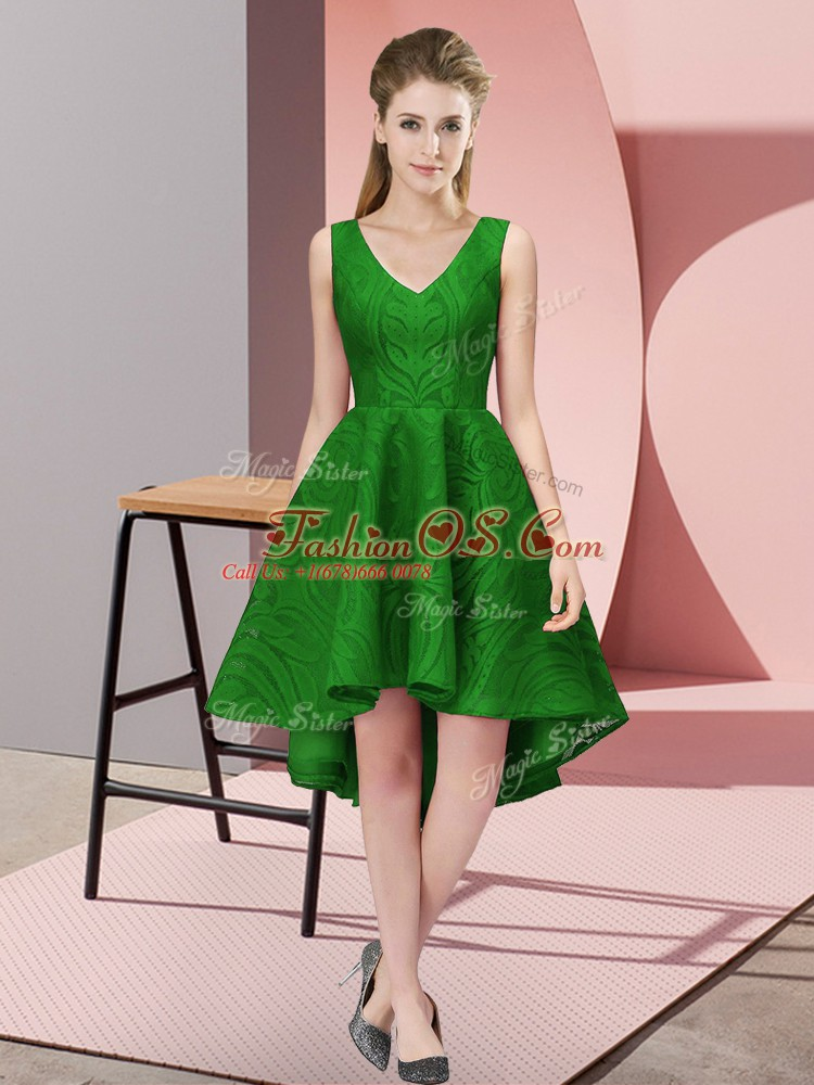 Gorgeous Green Lace Zipper Quinceanera Dama Dress Sleeveless High Low Lace