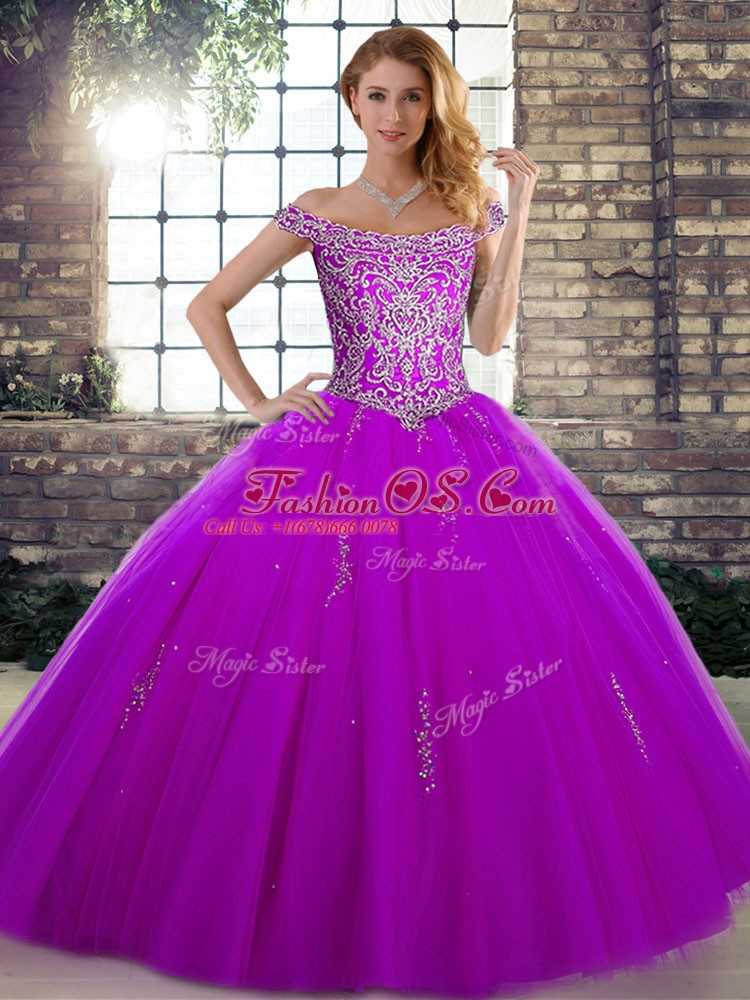 Flare Purple Ball Gowns Off The Shoulder Sleeveless Tulle Floor Length Lace Up Beading Quinceanera Dress