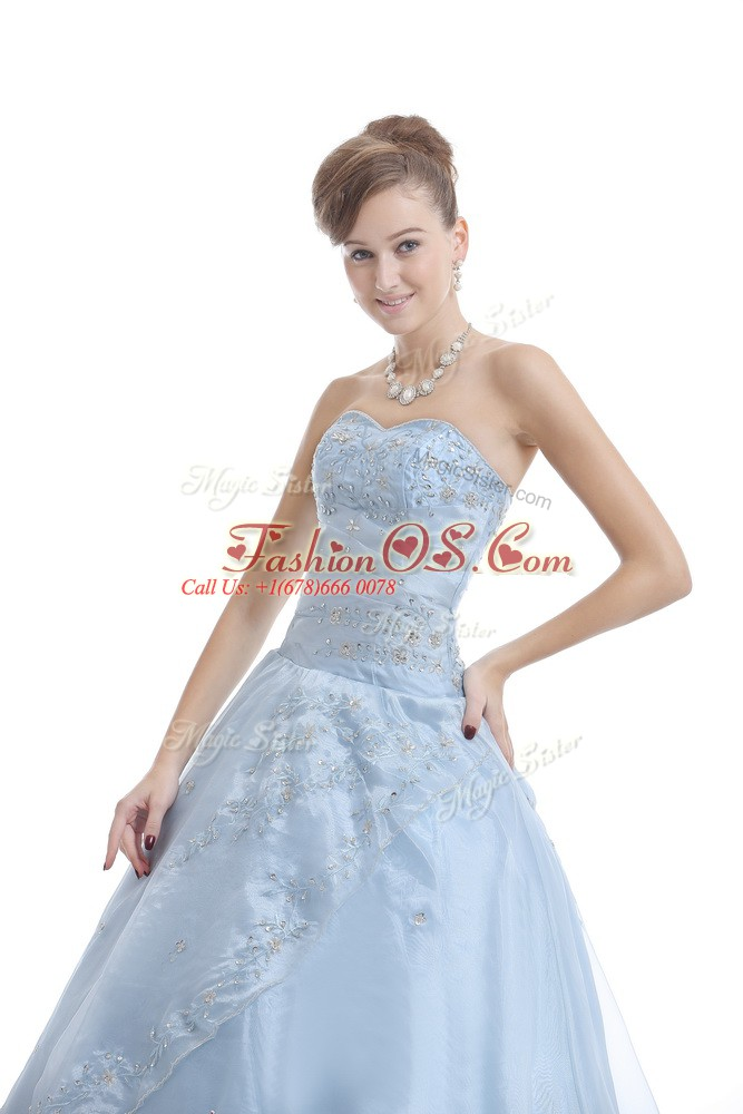 Edgy Floor Length Light Blue 15 Quinceanera Dress Sweetheart Sleeveless Lace Up
