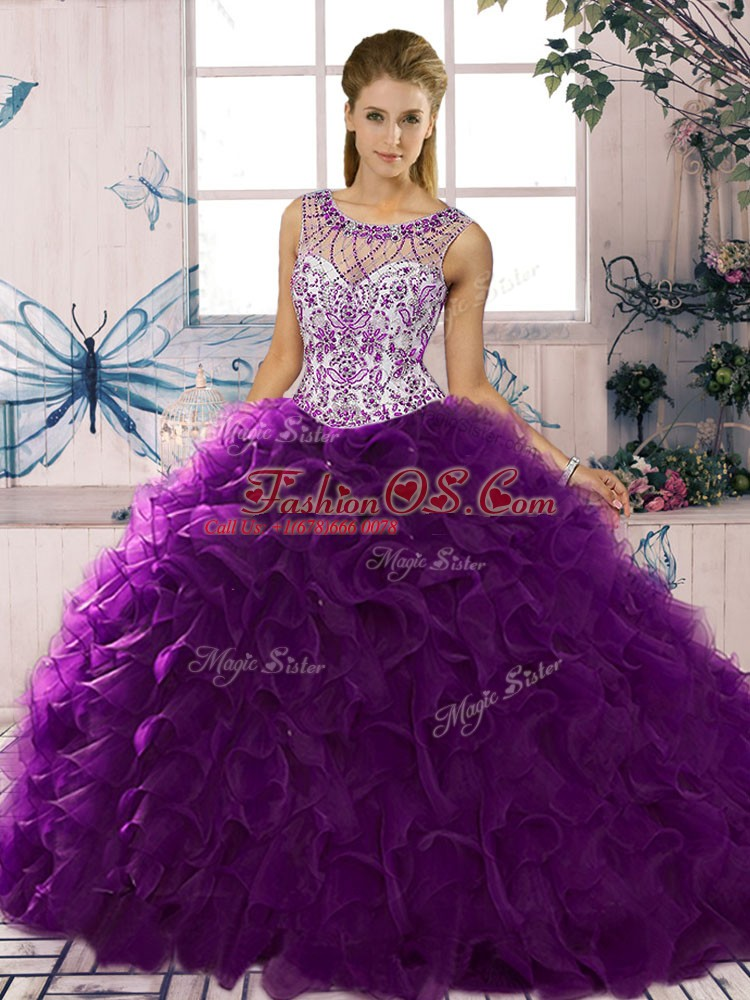 Sumptuous Floor Length Ball Gowns Sleeveless Purple Quince Ball Gowns Lace Up