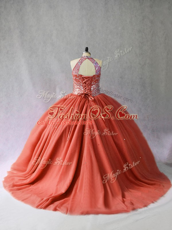 Noble Red Lace Up Halter Top Beading Quinceanera Dresses Tulle Sleeveless Brush Train