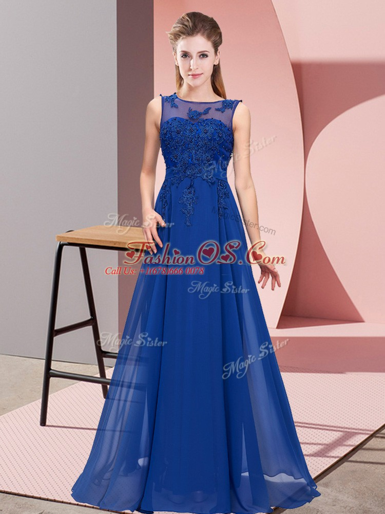 Royal Blue Chiffon Zipper Scoop Sleeveless Floor Length Vestidos de Damas Beading and Appliques