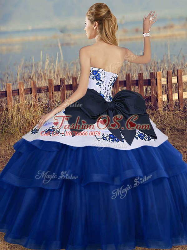 Colorful Sleeveless Floor Length Embroidery and Bowknot Lace Up 15th Birthday Dress with Teal