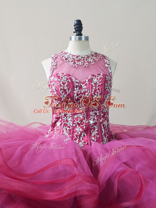 Ball Gowns Sleeveless Burgundy Quinceanera Gowns Brush Train Lace Up