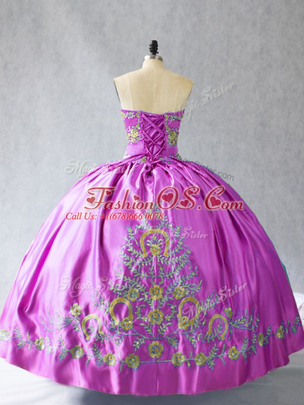 Lilac Quinceanera Gown Sweetheart Sleeveless Lace Up