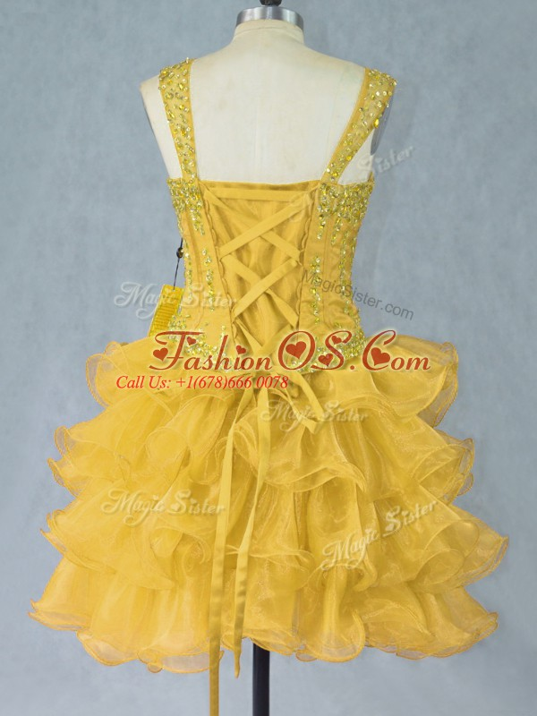 Stunning Gold Prom Dresses Prom and Party with Beading and Ruffled Layers Straps Sleeveless Lace Up