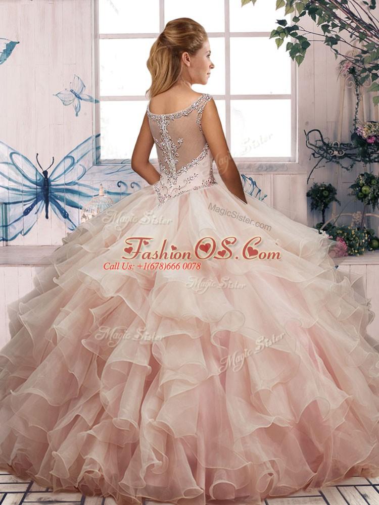 Charming Floor Length Green Sweet 16 Dress Scoop Sleeveless Zipper