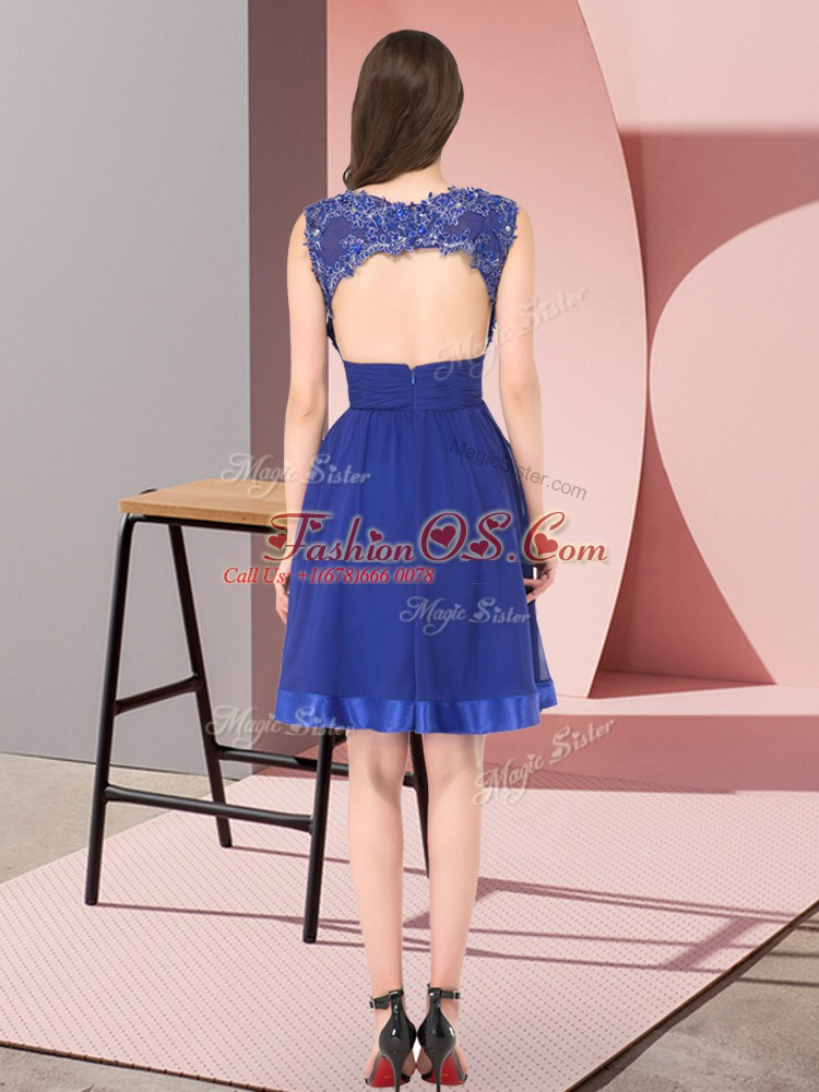 Hot Selling Mini Length Royal Blue Quinceanera Court of Honor Dress Scoop Sleeveless Backless