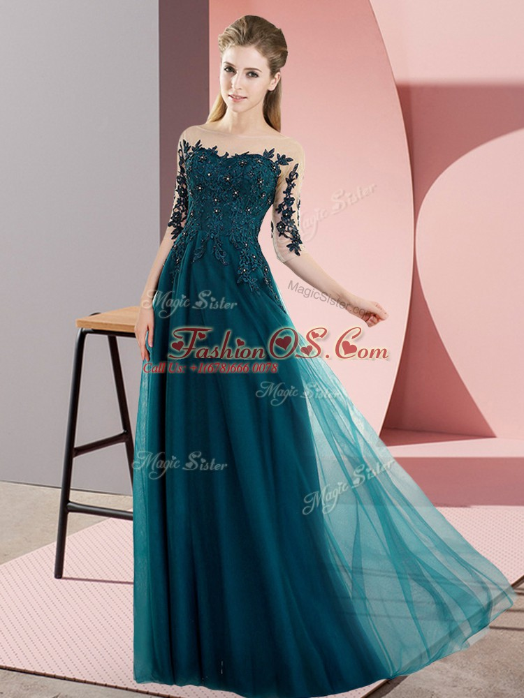 Classical Floor Length Peacock Green Dama Dress Bateau Half Sleeves Lace Up