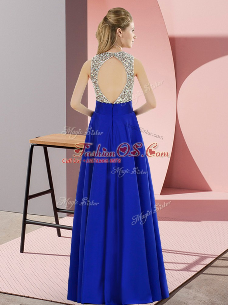 Turquoise Empire Elastic Woven Satin Scoop Sleeveless Beading Floor Length Backless Prom Dresses