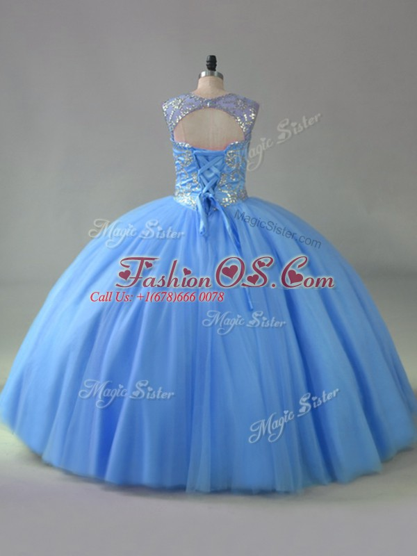 Suitable Floor Length Blue Quince Ball Gowns Scoop Sleeveless Lace Up