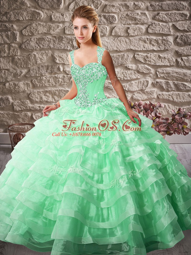 Fine Court Train Ball Gowns Quinceanera Gown Apple Green Straps Organza Sleeveless Lace Up