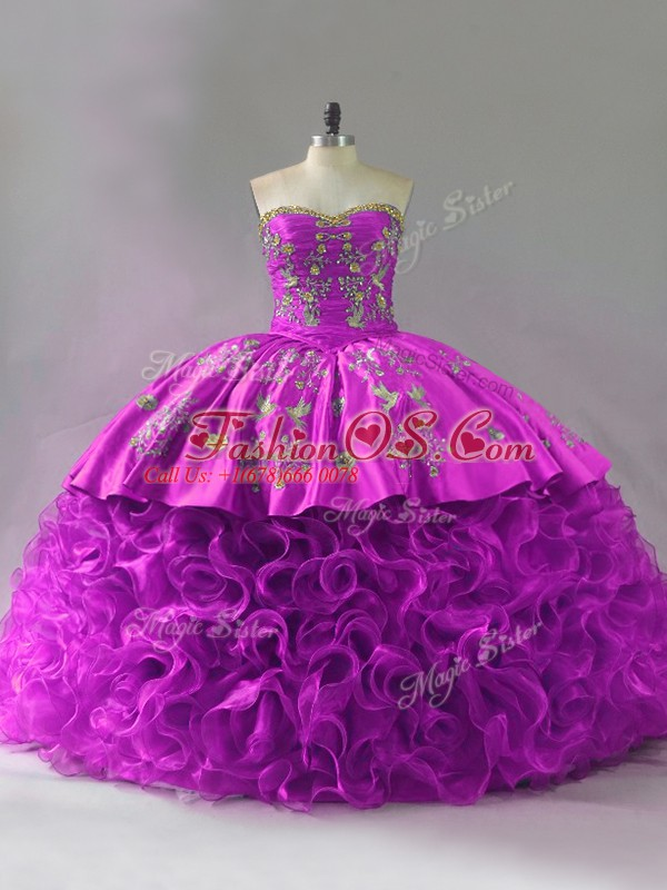 Fuchsia Ball Gowns Beading and Embroidery and Ruffles Sweet 16 Dresses Lace Up Organza and Fabric With Rolling Flowers Sleeveless