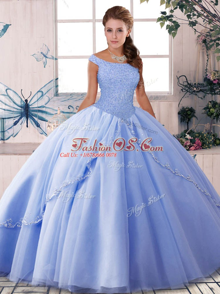 Fashionable Brush Train Ball Gowns 15 Quinceanera Dress Lavender Off The Shoulder Tulle Sleeveless Lace Up