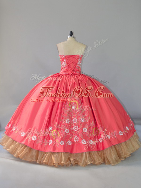 Luxurious Floor Length Ball Gowns Sleeveless Watermelon Red Quinceanera Dress Lace Up
