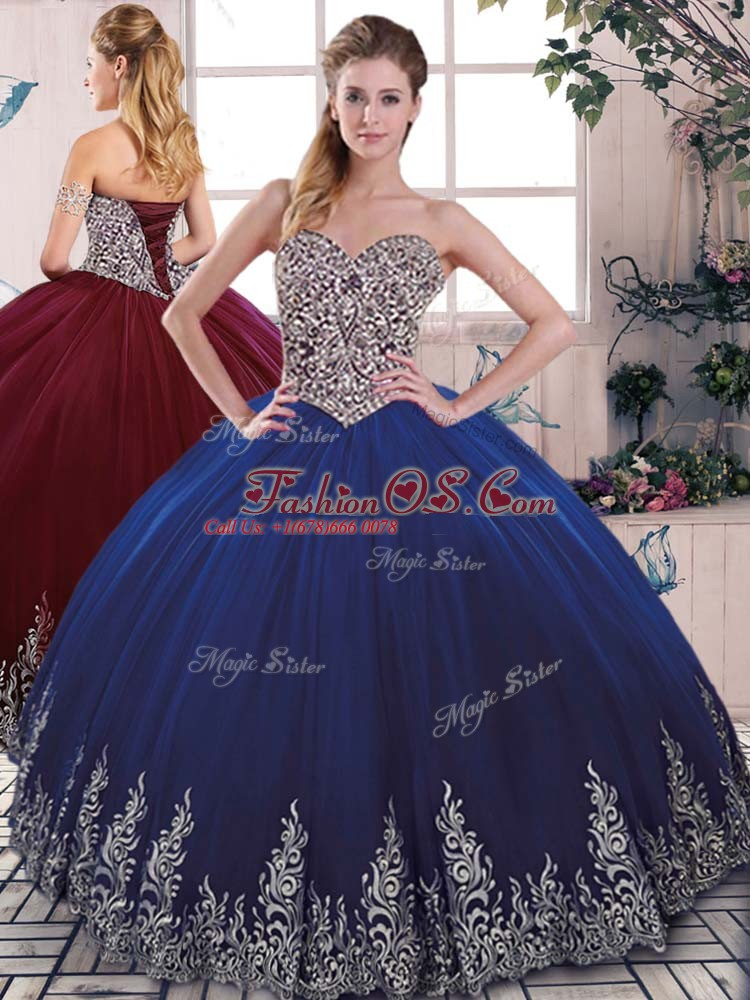 Cheap Tulle Sleeveless Floor Length Sweet 16 Dress and Embroidery