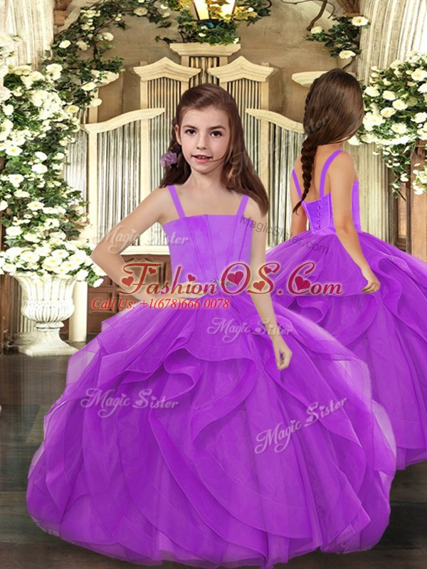 Superior Lilac Sleeveless Floor Length Beading and Ruffles Lace Up Quince Ball Gowns