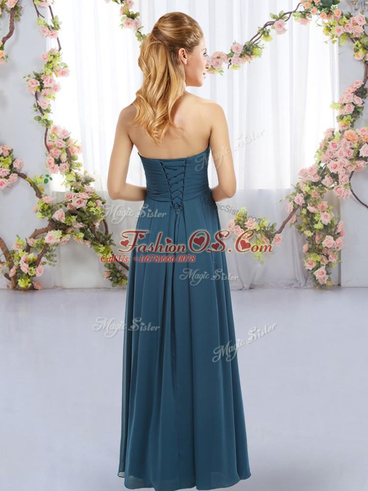 Royal Blue Sleeveless Ruffles Floor Length Bridesmaid Dresses