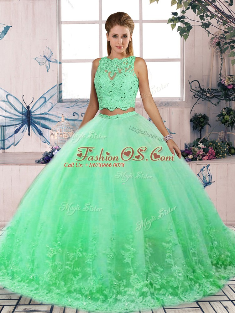 Pretty Sweep Train Two Pieces Ball Gown Prom Dress Turquoise Scalloped Tulle Sleeveless Backless