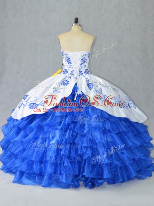 Unique Blue And White Lace Up Quinceanera Gowns Embroidery and Ruffled Layers Sleeveless Floor Length