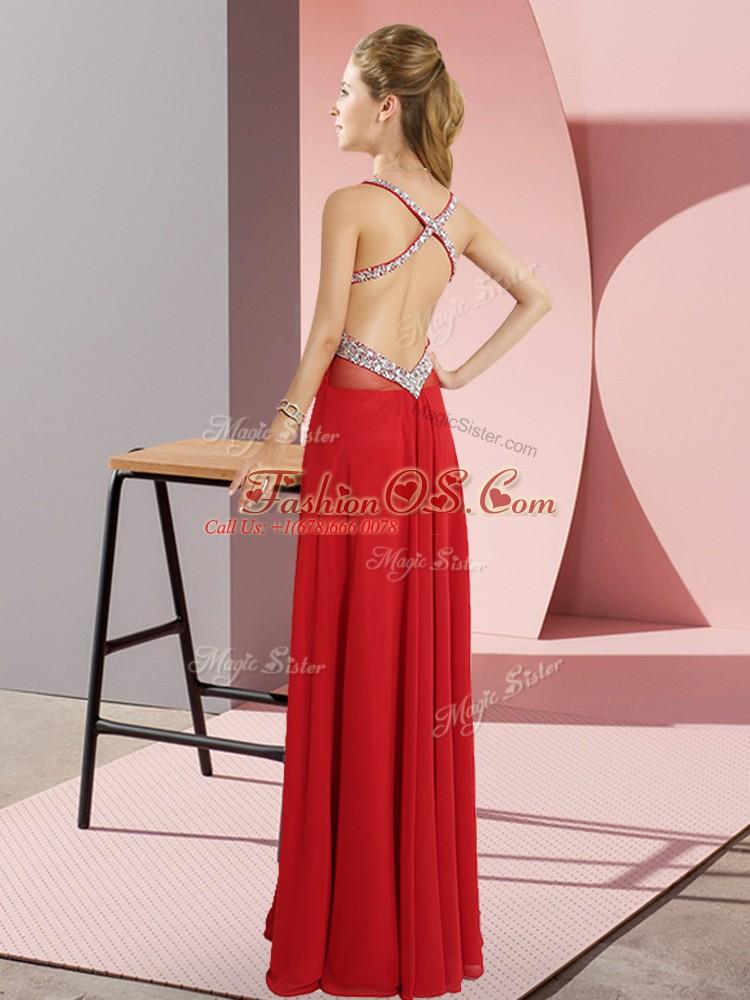 Dazzling Floor Length Empire Sleeveless Brown Prom Evening Gown Criss Cross