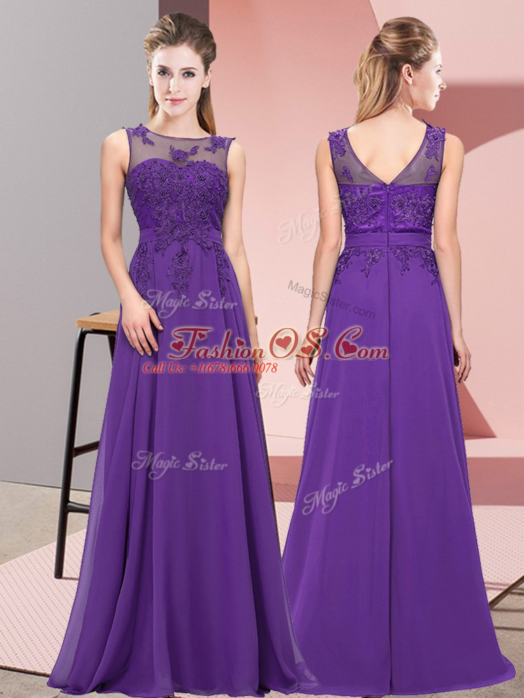 Enchanting Scoop Sleeveless Zipper Dama Dress Purple Chiffon