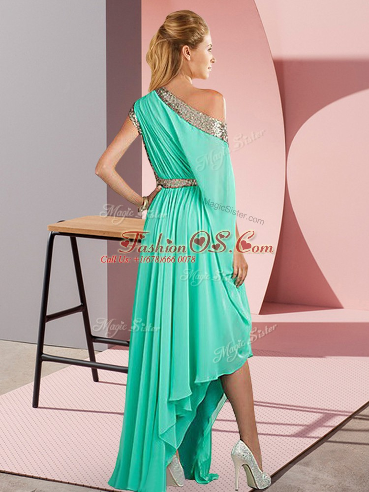 Asymmetrical Side Zipper Evening Dress Yellow Green for Prom and Party with Sequins