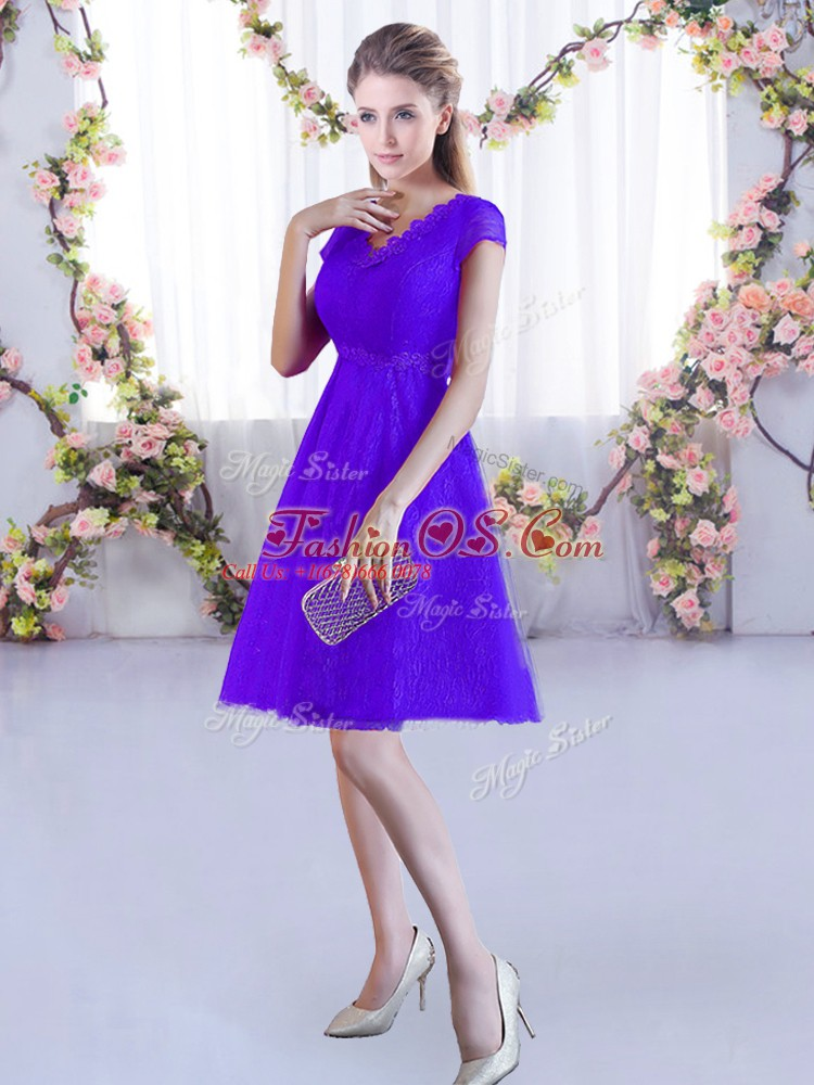 Sweet Cap Sleeves Lace Up Mini Length Lace Quinceanera Court Dresses