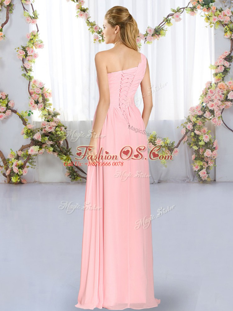 High Quality Blue Lace Up One Shoulder Ruching Bridesmaid Dresses Chiffon Sleeveless