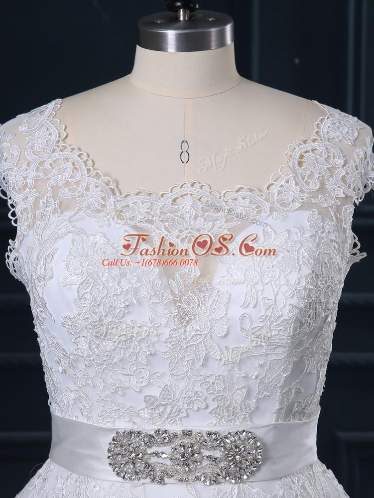 Fantastic Beading and Lace Wedding Dresses White Zipper Sleeveless Brush Train