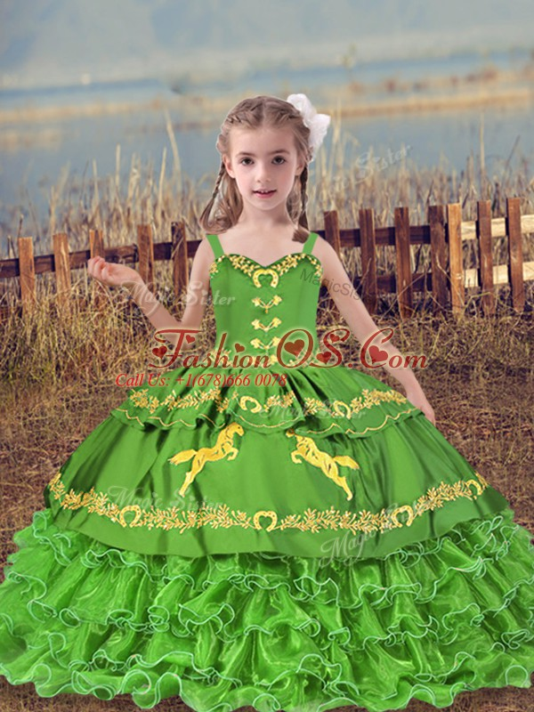 Eye-catching Organza Lace Up High School Pageant Dress Sleeveless Floor Length Beading and Embroidery and Ruffled Layers