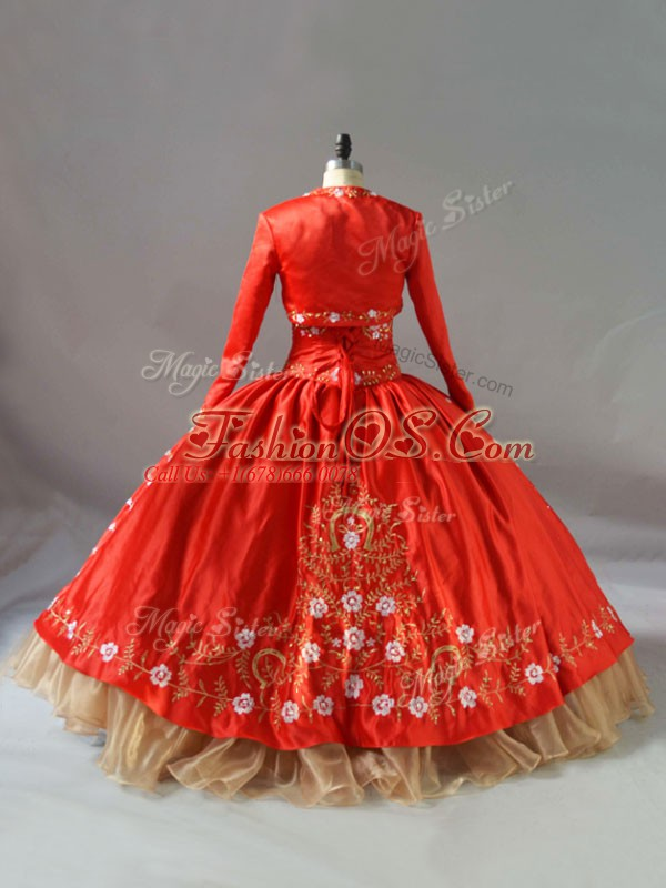 Floor Length Red 15th Birthday Dress Organza Sleeveless Embroidery