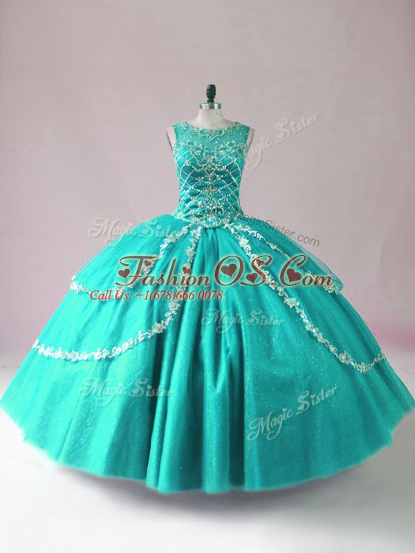 Top Selling Turquoise Tulle Zipper Scoop Sleeveless Floor Length Quince Ball Gowns Beading