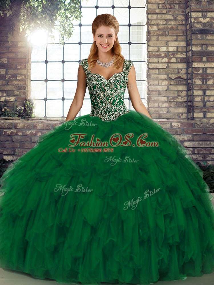 On Sale Green Lace Up Straps Beading and Ruffles Quince Ball Gowns Organza Sleeveless