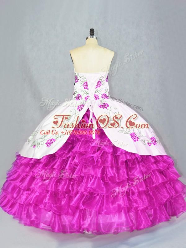 Flirting Ball Gowns Quinceanera Dresses Fuchsia Sweetheart Organza Sleeveless Floor Length Lace Up