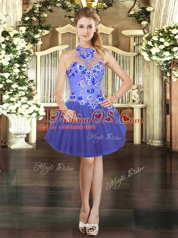 Suitable Mini Length Blue Homecoming Dress Tulle Sleeveless Embroidery