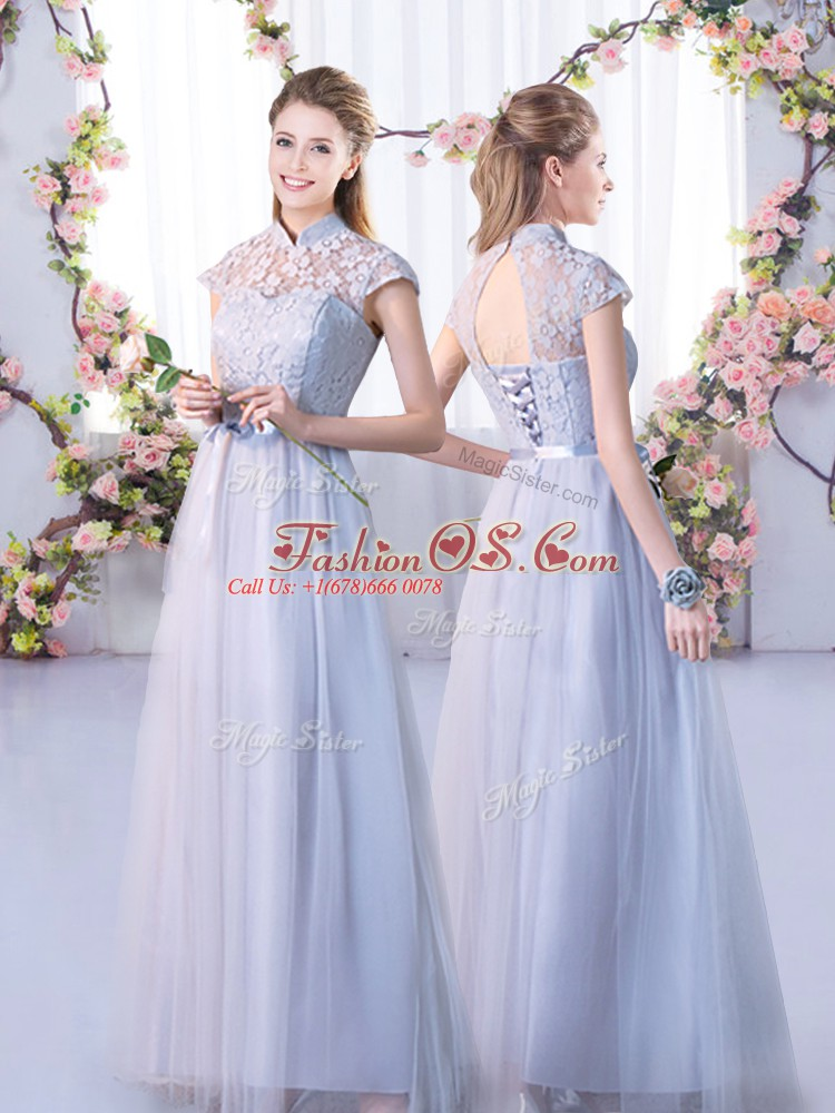 Most Popular Tulle High-neck Cap Sleeves Lace Up Lace Bridesmaid Dress in Grey