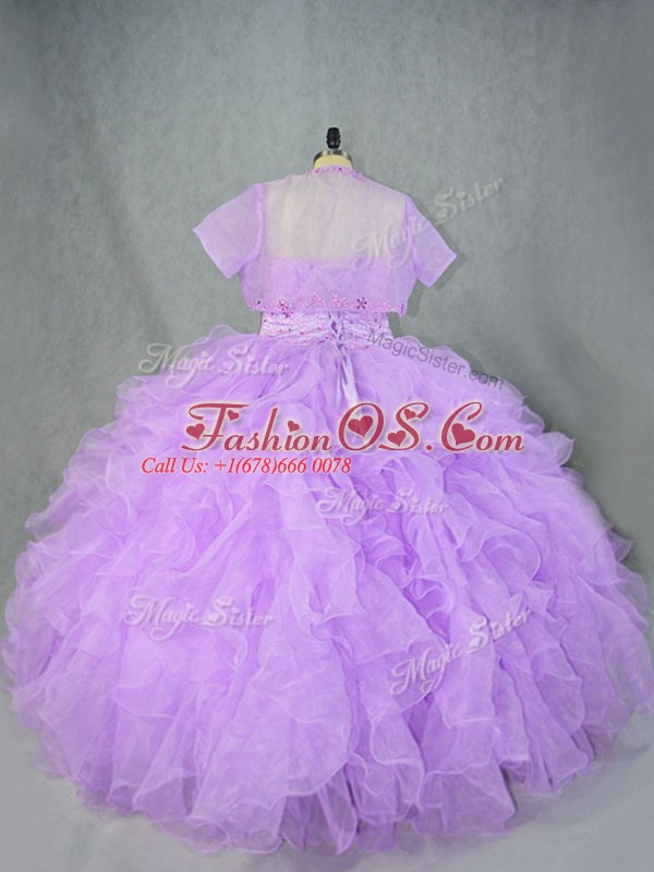 Sweetheart Sleeveless Quinceanera Dress Asymmetrical Beading and Ruffles Lavender Organza