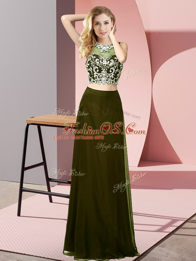 Sleeveless Floor Length Beading Backless Prom Dress with Olive Green