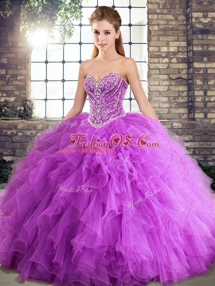 Custom Made Floor Length Lavender Quinceanera Gown Tulle Sleeveless Beading and Ruffles